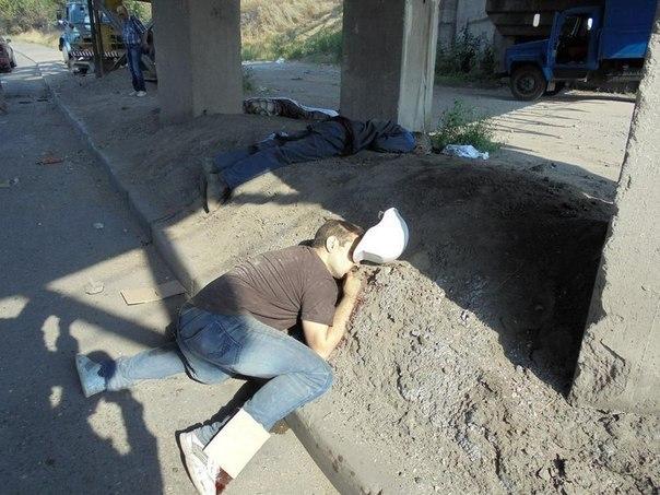 Погибшая бригада электриков в Донецке. Убиты во время работы по восстановлению электроснабжения города.