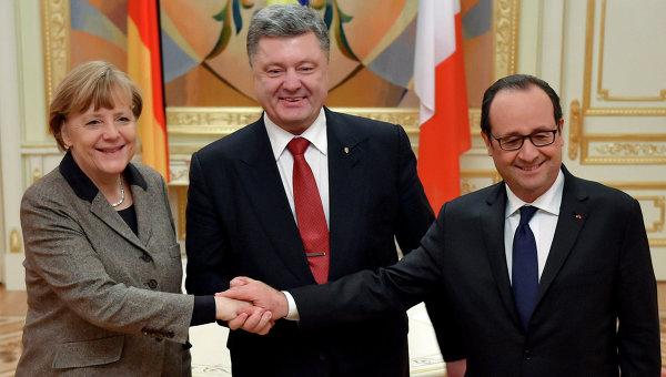 Меркель, Олланд и Порошенко обсудят в Берлине ситуацию в Донбассе