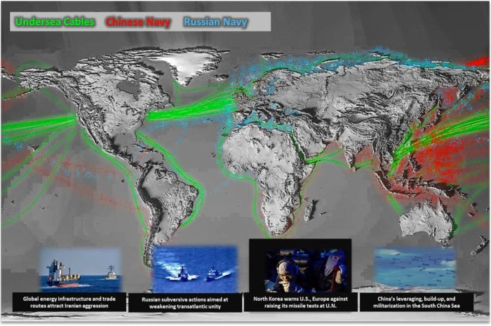 Карта активности ВМФ России и ВМС Китая из документа, опубликованного Министерством обороны США