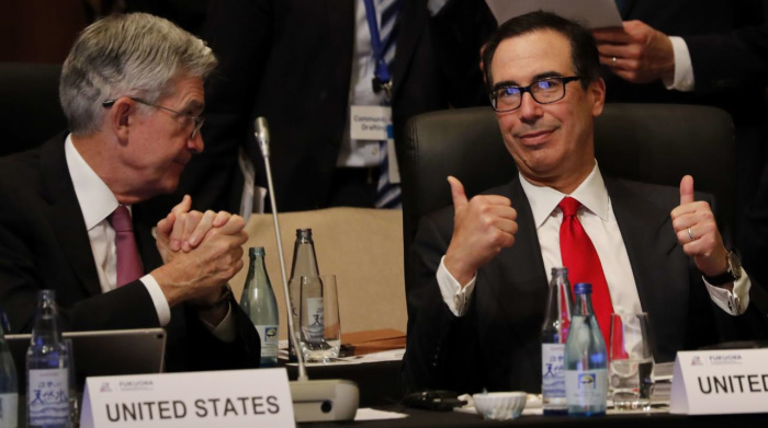 Председатель ФРС Джером Пауэлл и министр финансов Стивен Мнучин