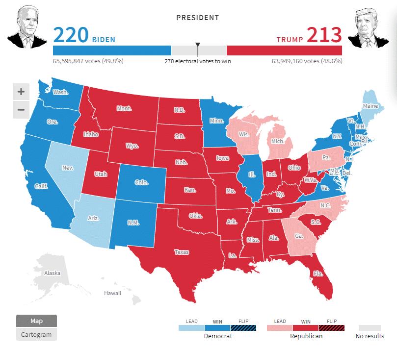 Выборы в США. Карта голосования по штатам.