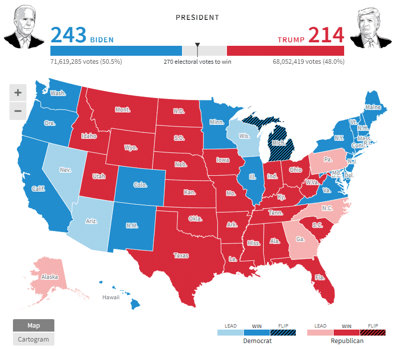 Карта выборов президента США