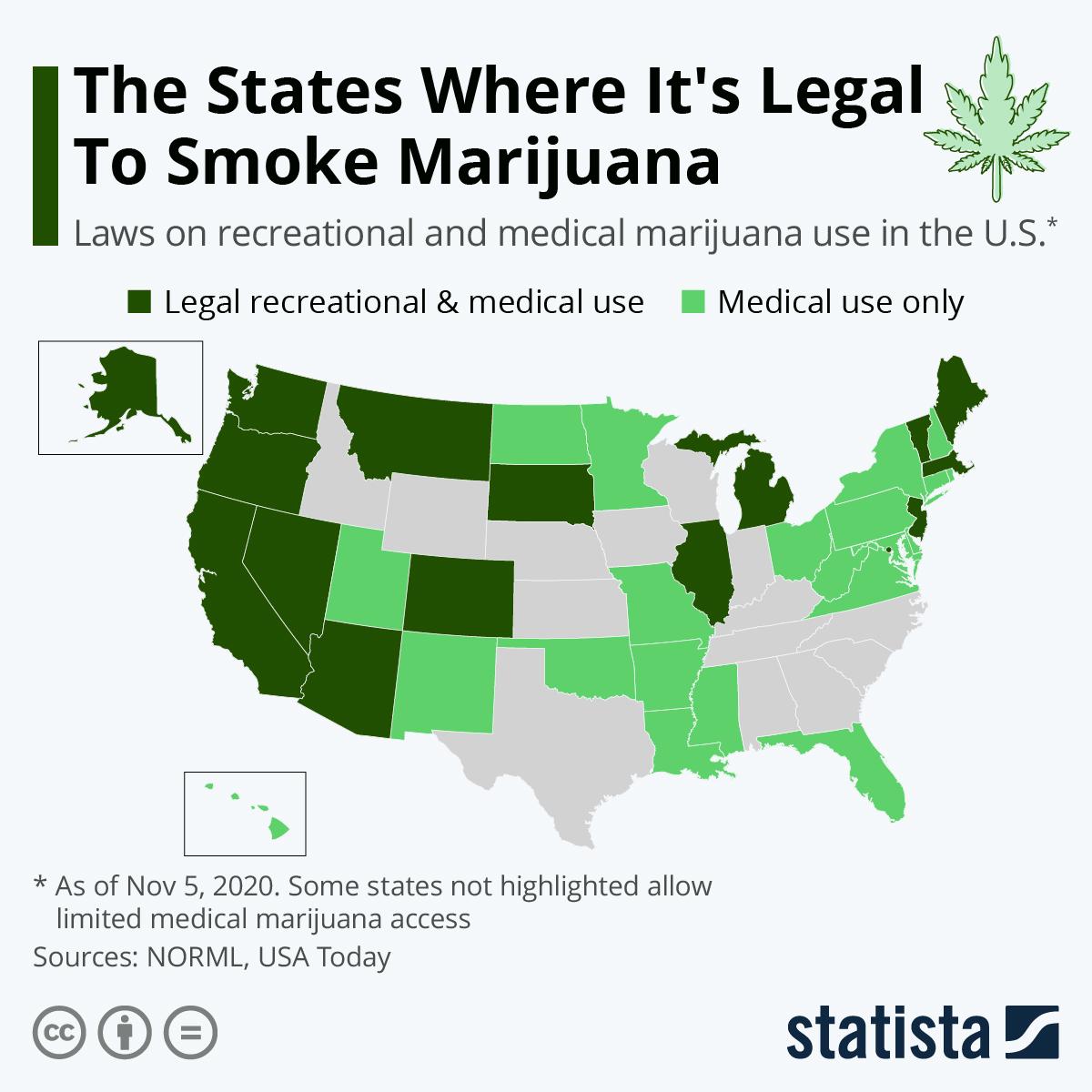 Карта штатов, где легализовано курение марихуаны