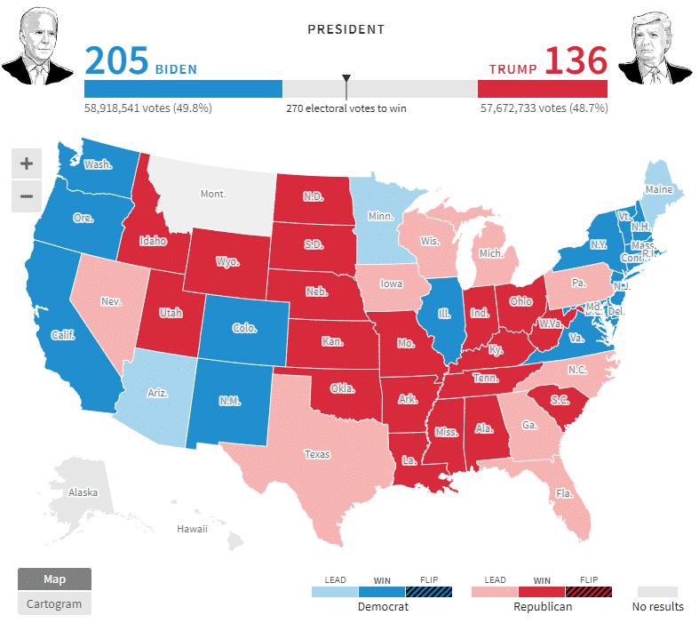 Выборы в США. Карта голосования по штатам