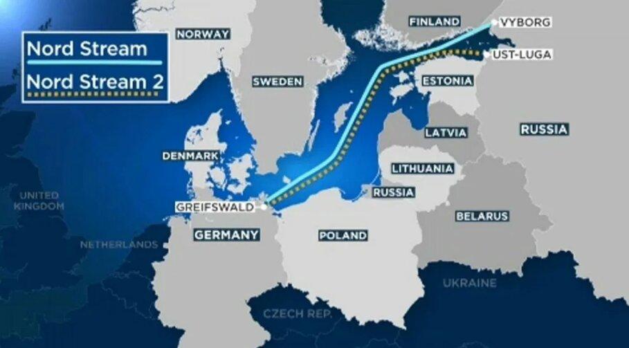 """Карта газопровода """"Северный поток"""""""