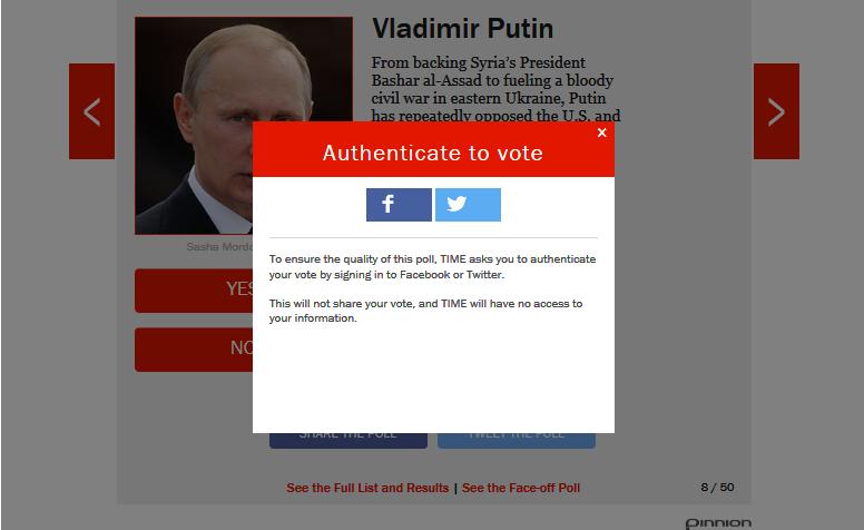 Голосуем за нашего Президента Владимира Путина на сайте Time
