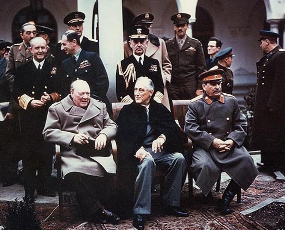 Черчилль, Рузвельт, Сталин в Ялте. Февраль 1945 г.