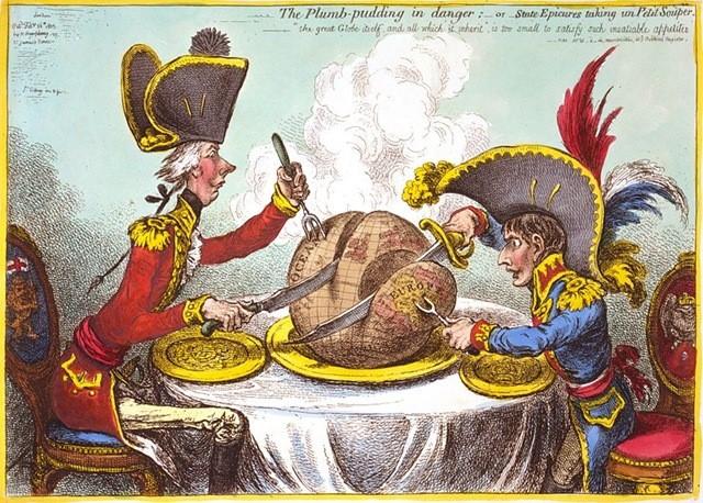 Наполеон и премьер-министр Великобритании Питт делят мир. Карикатура.