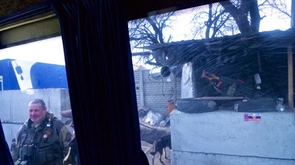 На блокпосту  у Донецка.