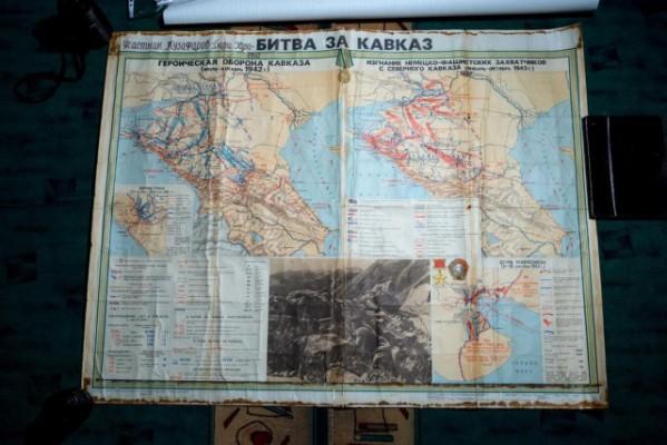"""Карта """"Битва за Кавказ"""" Музафарова Х. – участника Великой Отечественной войны. 1942-1943 гг."""