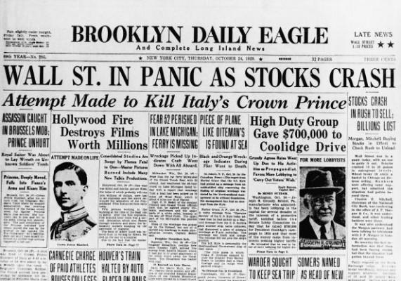 Газета от 24 октября 1929 года, т.е. «чёрного четверга» – на тот момент как раз началась паника – рынок упал на 11% за один день. В два следующих дня (пятница и суббота - тогда рынок работал по субботам) рынок слегка воспрянул, затем наступил «чёрный понедельник» и «чёрный вторник», которые сняли все сомнения в серьёзности ситуации.