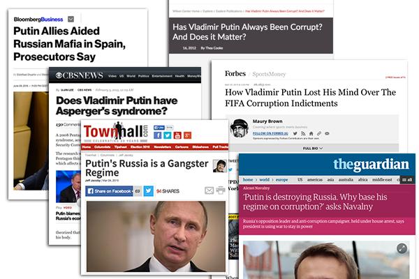 Агрессивная кампания по дискредитации российского президента в западных СМИ