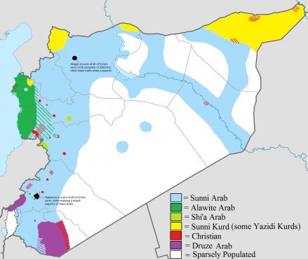Карта конфессий в Сирии