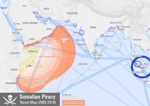 Места нападений сомалийских пиратов в 2005–2010 годах. Карта: Planemad по данным NGA — Maritime Safety Information.