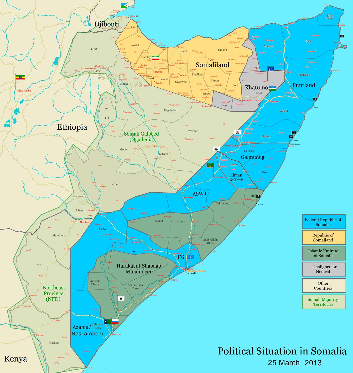 Политическая ситуация в Сомали на 2013 год. Карта: James Dahl.