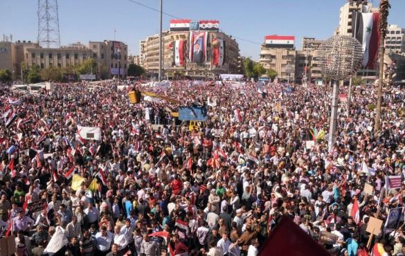 Массовая демонстрация в поддержку Башара Асада. Алеппо, октябрь 2011