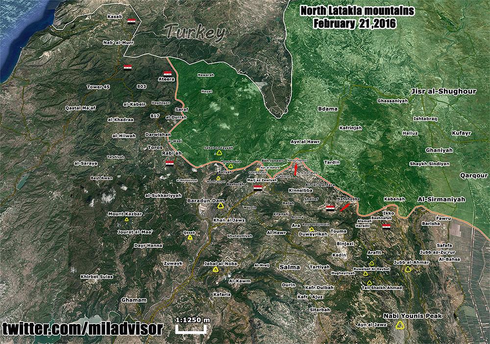 Наступление сирийской армии в провинции Латакия. Зелёным – позиции террористов