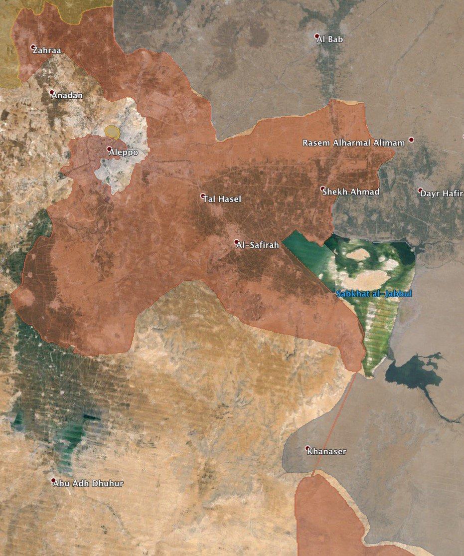Захвачен важный участок дороги Атрея – Ханасер (серые – ИГ, красные – армия)