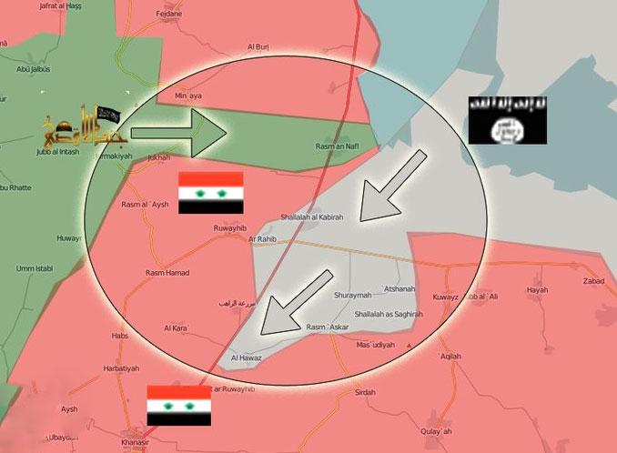 Скоординированная атака террористов (зелёным) и Халифата (серым) на позиции армии (красным)