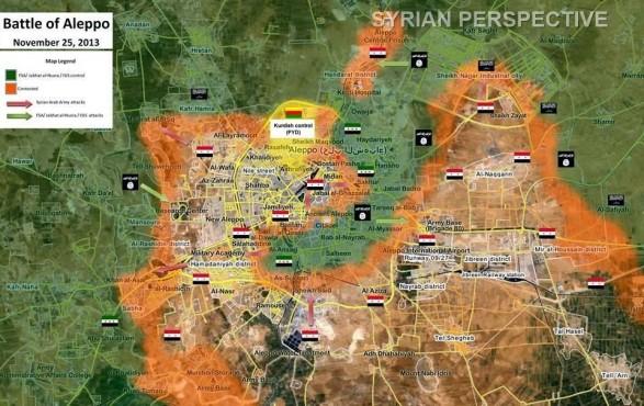 Ситуация в Алеппо в 2013 г. В осаде находятся правительственные войска