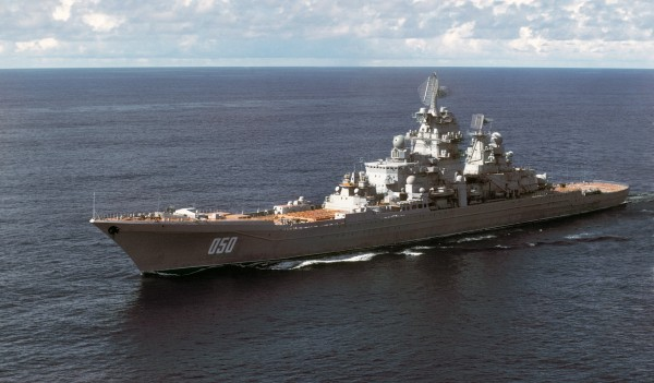 Aerial port bow view of the Soviet Kirov class nuclear-powered guided missile cruiser FRUNZE underway.
