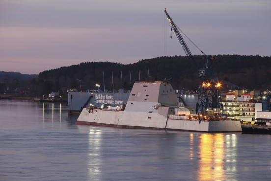 DDG 1000, the first of the U.S. Navy's Zumwalt Class of multi-mission guided missile destroyers, is pictured in Bath