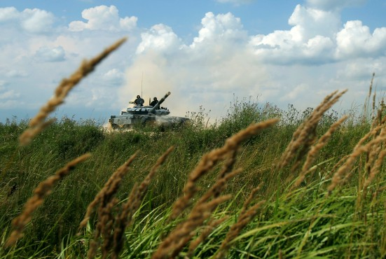 Tank competes during Tank Biathlon at International Army Games outside Moscow