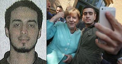 Фото Меркель с беженцем, похожим на организатора терактов в Брюсселе