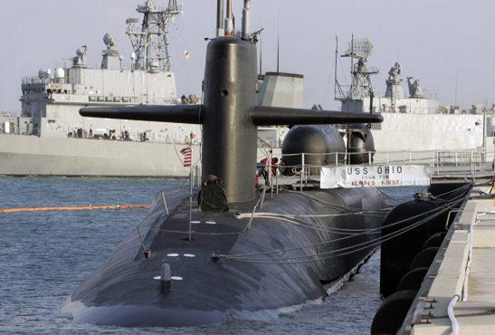 Подводная лодка ВМФ США класса Ohio на военно-морской базе в Пусане, Южная Корея