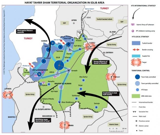 Синим, голубым и сереным цветом выделены зоны контроля сирийской «Аль-Каиды» в провинции Идлиб