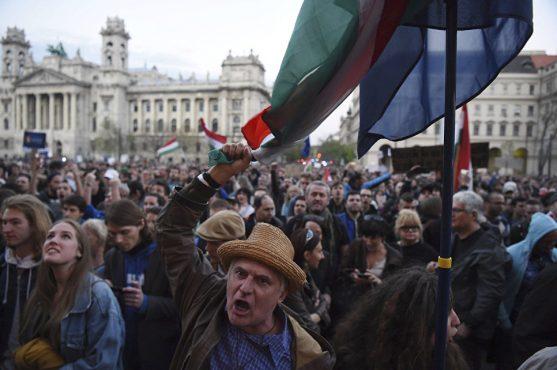 Протесты против новой системы образования в Венгрии. Апрель 2017 года