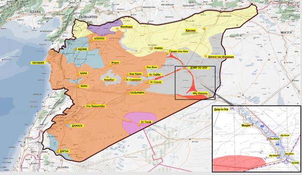Абу-Кемаль на карте Сирии