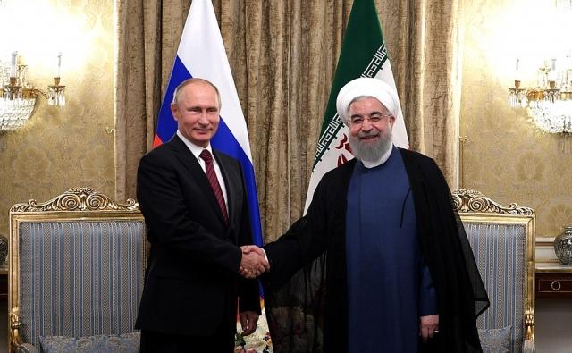 Встреча Владимира Путина с Президентом Исламской Республики Иран Хасаном Рухани. Тегеран. 2017