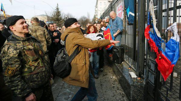 У здания посольства России в Киеве. Фото: www.globallookpress.com