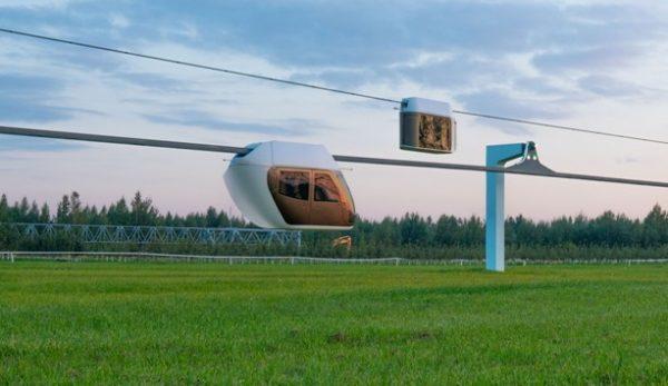 Образцы «вагонов» струнного транспорта в ЭкоТехноПарке в Минской области
